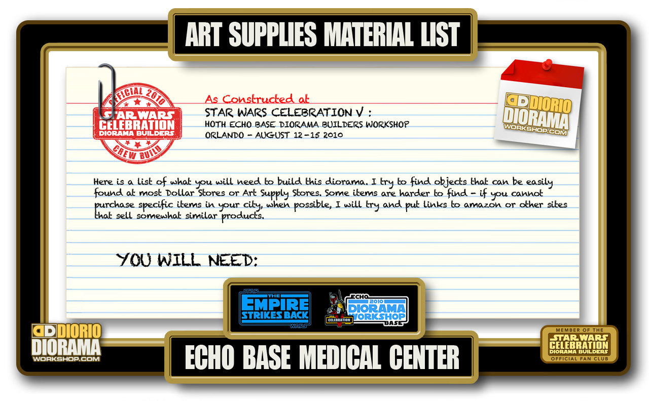 TUTORIALS • MATERIALS • HOTH ECHO BASE MEDICAL CENTER