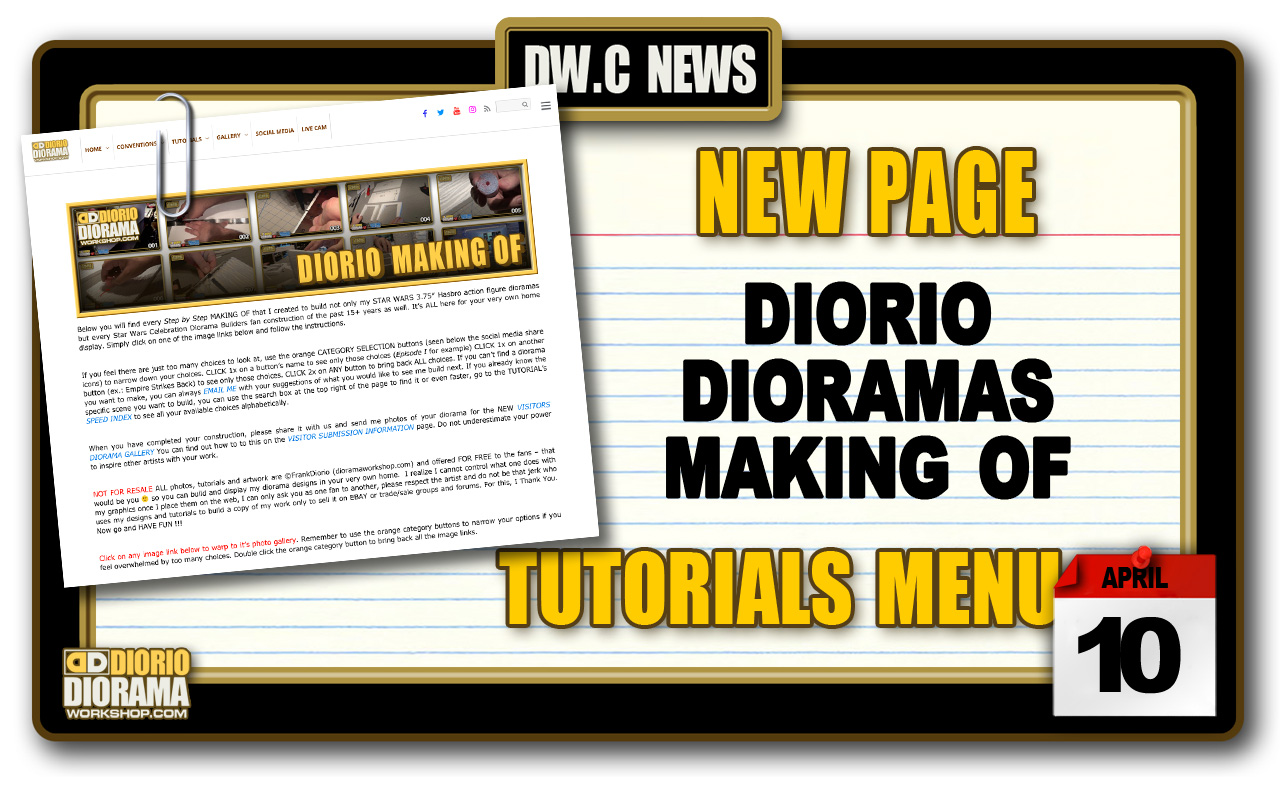 NEW PAGE : TUTORIALS DIORIO DIORAMAS MAKING OF