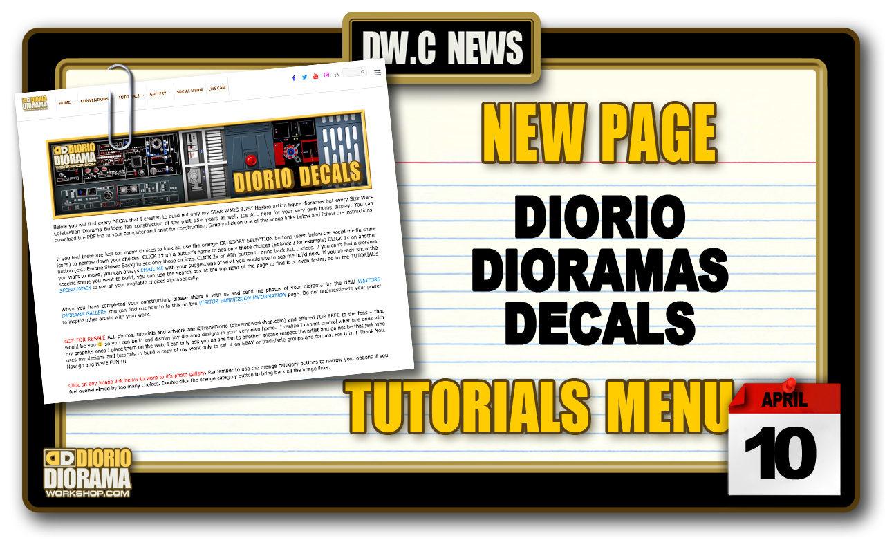 NEW PAGE : TUTORIALS DIORIO DIORAMA DECALS
