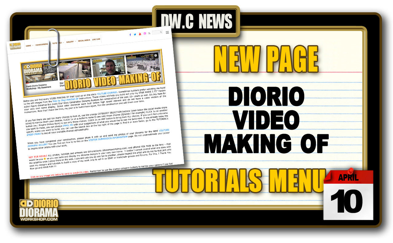 NEW PAGE : TUTORIALS DIORIO VIDEO MAKING OF