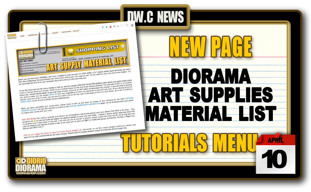 NEW PAGE : TUTORIALS DIORAMA MATERIALS LIST