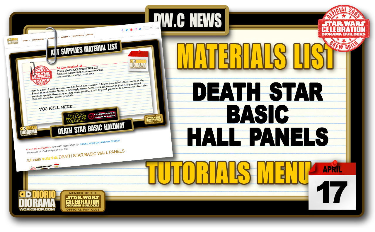 NEW MATERIALS LIST • DEATH STAR BASIC HALL PANELS