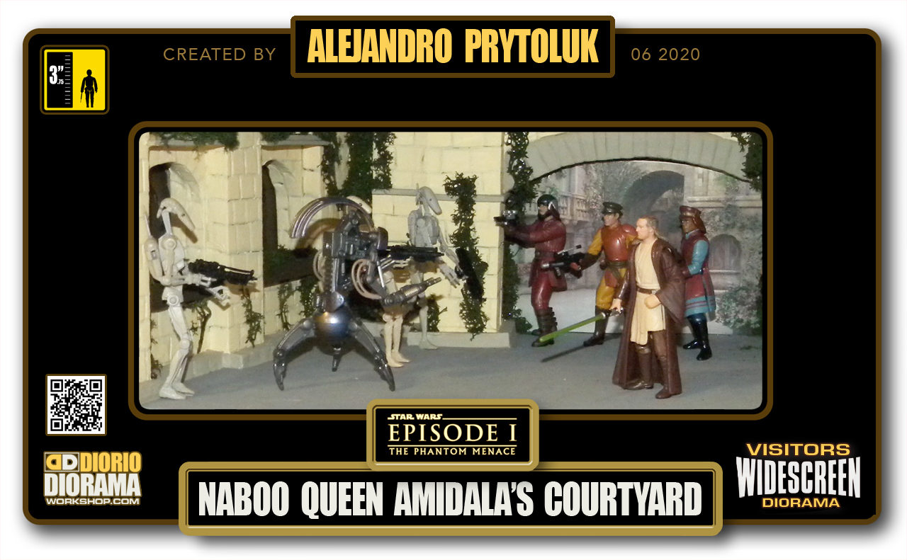 VISITORS HD WIDESCREEN DIORAMA • ALEJANDRO PRYTOLUK • STAR WARS EPISODE I • NABOO • QUEEN AMIDALA COURTYARD