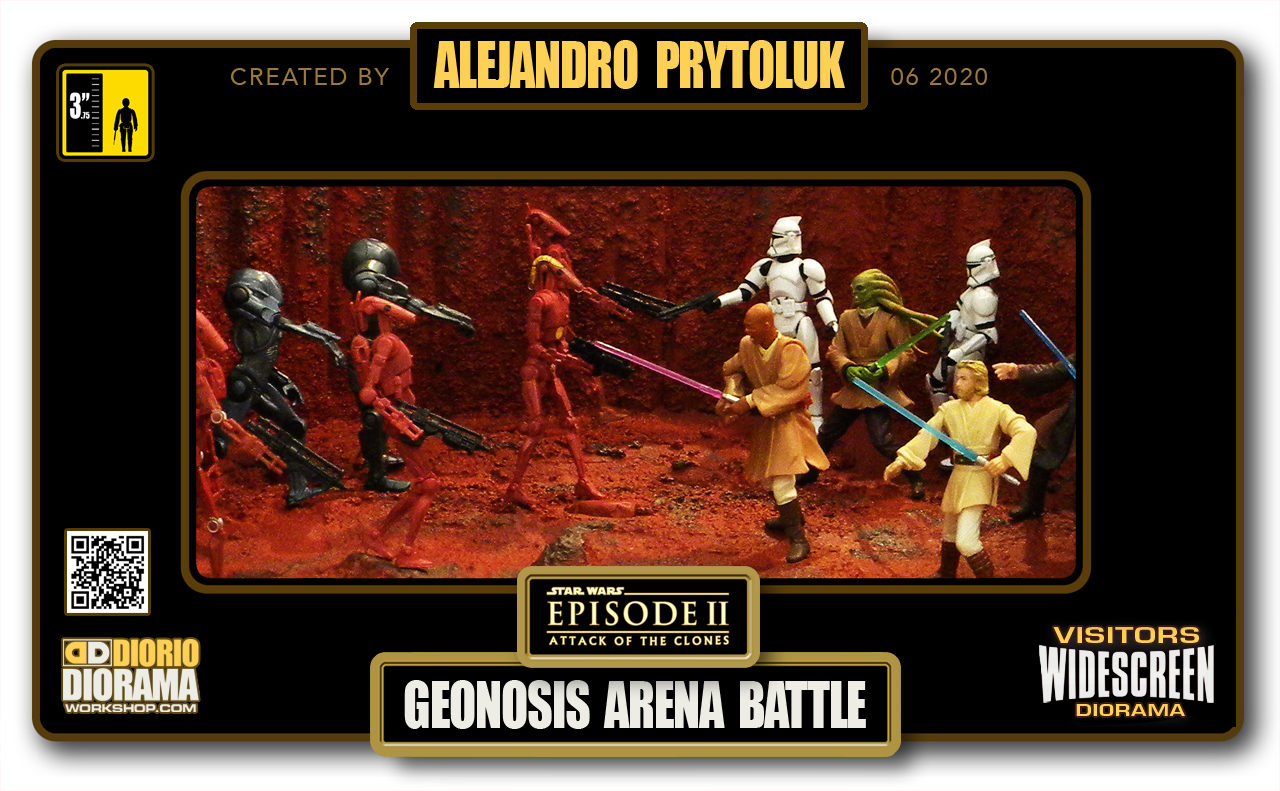 VISITORS HD WIDESCREEN DIORAMA • ALEJANDRO PRYTOLUK • STAR WARS EPISODE II • GEONOSIS ARENA BATTLE