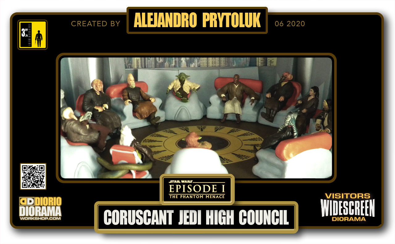 VISITORS HD WIDESCREEN DIORAMA • ALEJANDRO PRYTOLUK • STAR WARS EPISODE I • CORUSCANT • JEDI HIGH COUNCIL