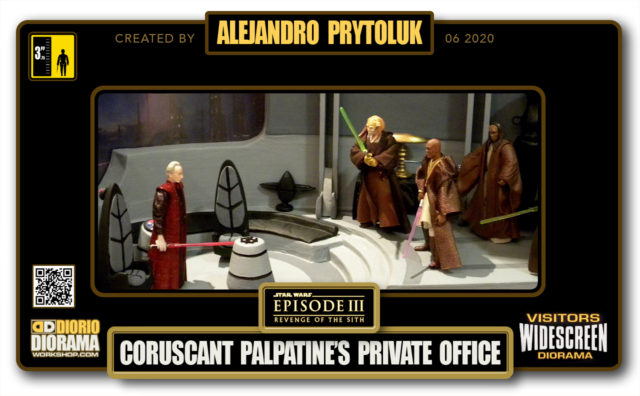 VISITORS HD WIDESCREEN DIORAMA • ALEJANDRO PRYTOLUK • STAR WARS EPISODE III • PALPATINE'S PRIVATE OFFICE