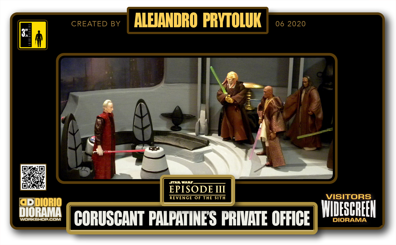 VISITORS HD WIDESCREEN DIORAMA • ALEJANDRO PRYTOLUK • STAR WARS EPISODE III • PALPATINE'S PRIVATE OFFICE