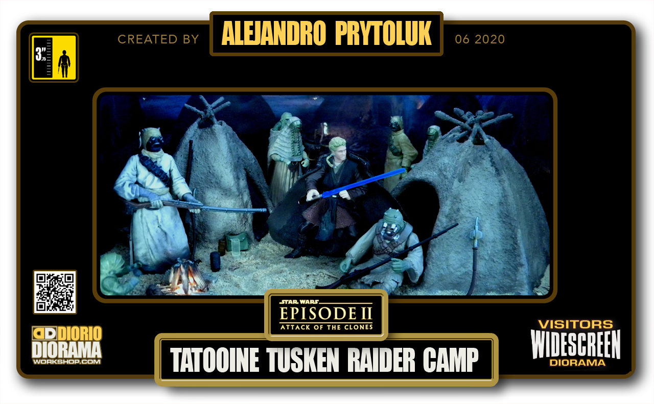 VISITORS HD WIDESCREEN DIORAMA • ALEJANDRO PRYTOLUK • STAR WARS EPISODE II • TATOOINE TUSKEN RAIDER CAMP