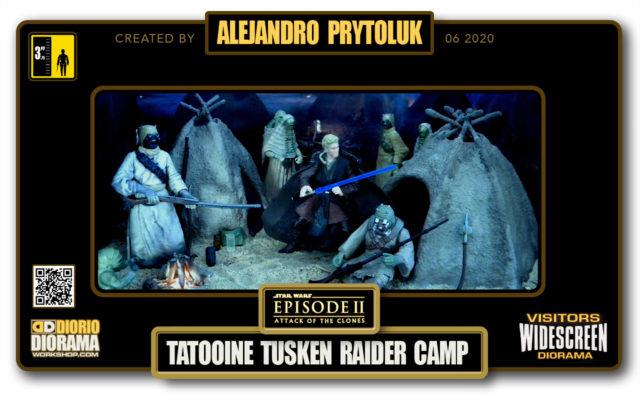 VISITORS HD WIDESCREEN DIORAMA • ALEJANDRO PRYTOLUK • STAR WARS EPISODE II • TATOOINE TUSKEN RAIDER CAMP
