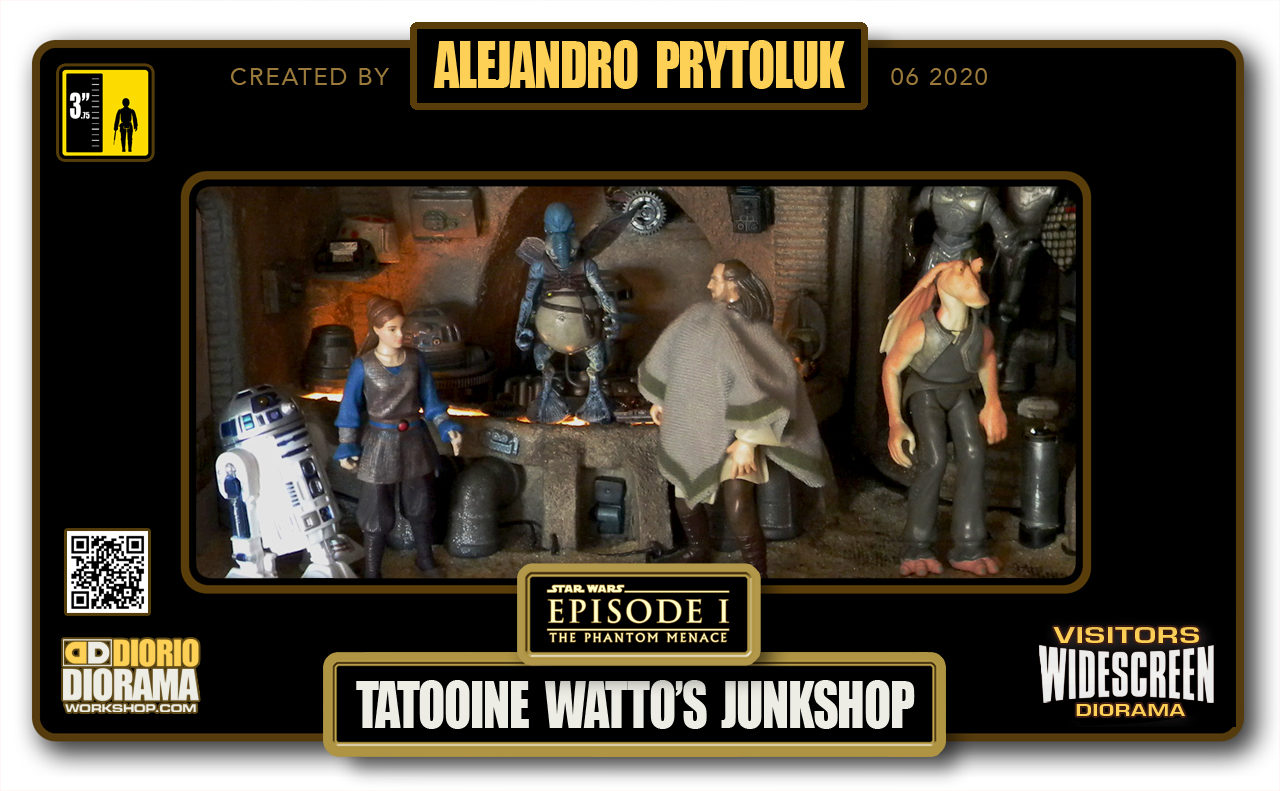 VISITORS HD WIDESCREEN DIORAMA • ALEJANDRO PRYTOLUK • STAR WARS EPISODE I • TATOOINE • WATTO JUNK SHOP