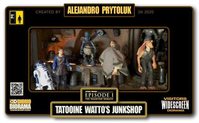 VISITORS HD WIDESCREEN DIORAMA • ALEJANDRO PRYTOLUK • STAR WARS EPISODE I • TATOOINE • WATTO JUNK SHOP