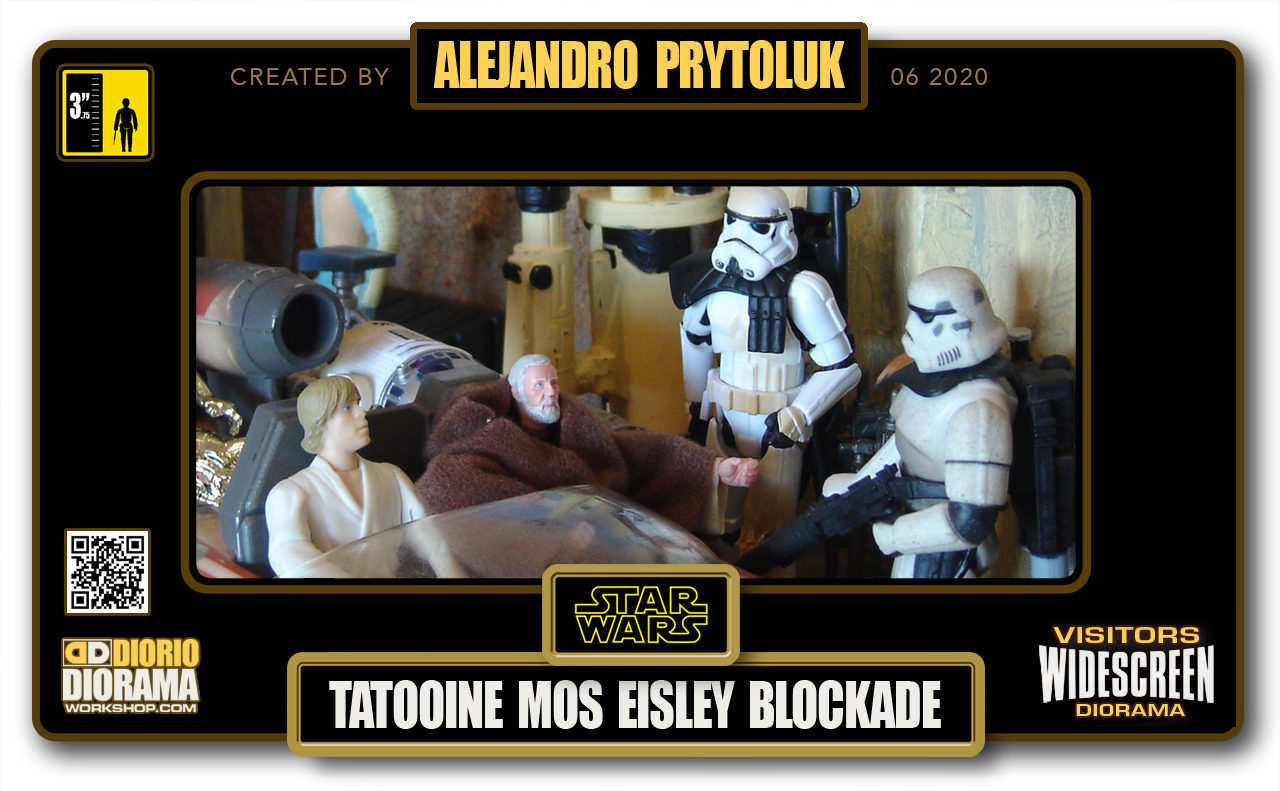 VISITORS HD WIDESCREEN DIORAMA • ALEJANDRO PRYTOLUK • STAR WARS EPISODE IV • TATOOINE • MOS EISLEY BLOCKADE