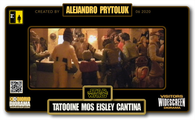 VISITORS HD WIDESCREEN DIORAMA • ALEJANDRO PRYTOLUK • STAR WARS EPISODE IV • TATOOINE • MOS EISLEY CANTINA