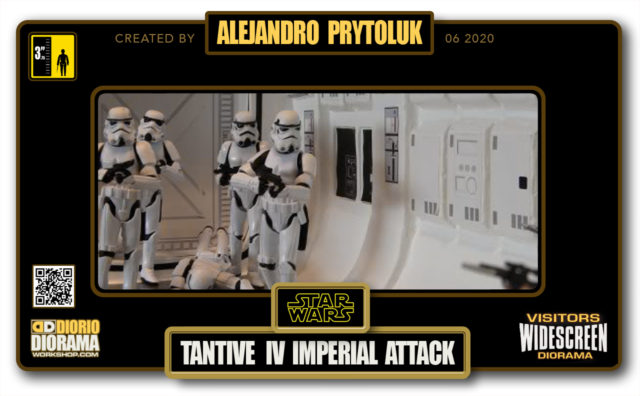 VISITORS HD WIDESCREEN DIORAMA • ALEJANDRO PRYTOLUK • STAR WARS EPISODE IV • TANTIVE IV • IMPERIAL ATTACK