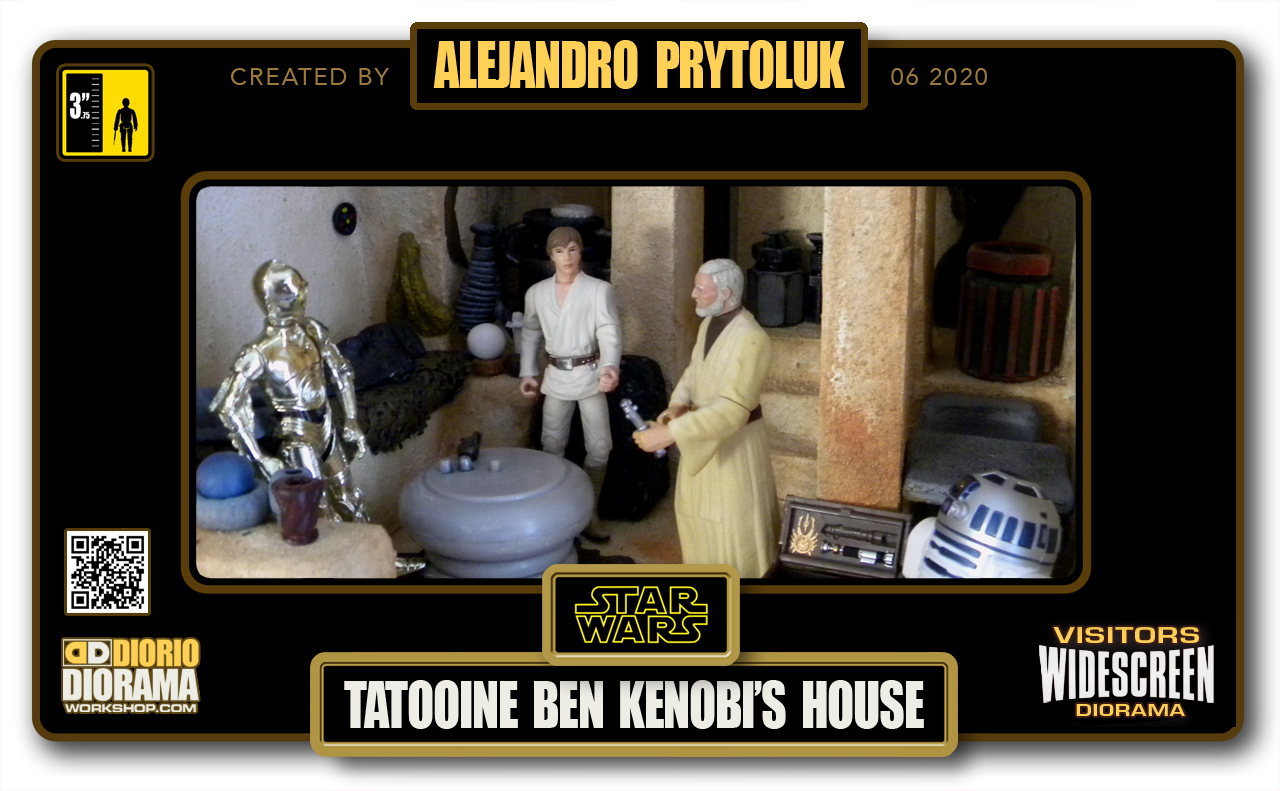 VISITORS HD WIDESCREEN DIORAMA • ALEJANDRO PRYTOLUK • STAR WARS EPISODE IV • TATOOINE • BEN KENOBI'S HOUSE