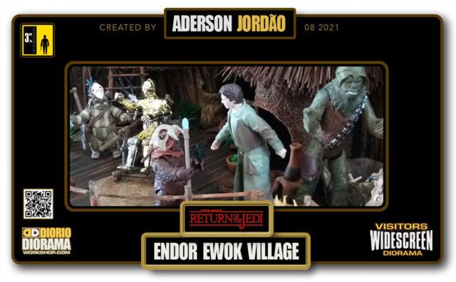 VISITORS HD WIDESCREEN DIORAMA • ADERSON JORDAO • STAR WARS EPISODE VI • ENDOR EWOK VILLAGE